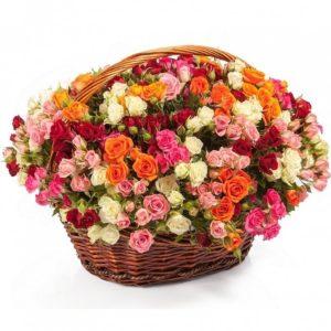 101 кустовая роза разных цветов в корзине
