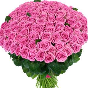 Букет из 101 розы Aqua розового цвета
