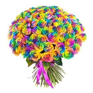 Букет из 101 радужной розы раскрашенной из балончика