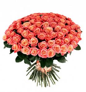 Букет из 101 розы кремово-розового цвета
