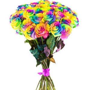 Букет из 25 радужных роз раскрашенных из балончика