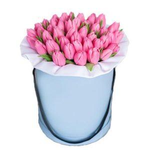 51 тюльпан розового цвета в коробке