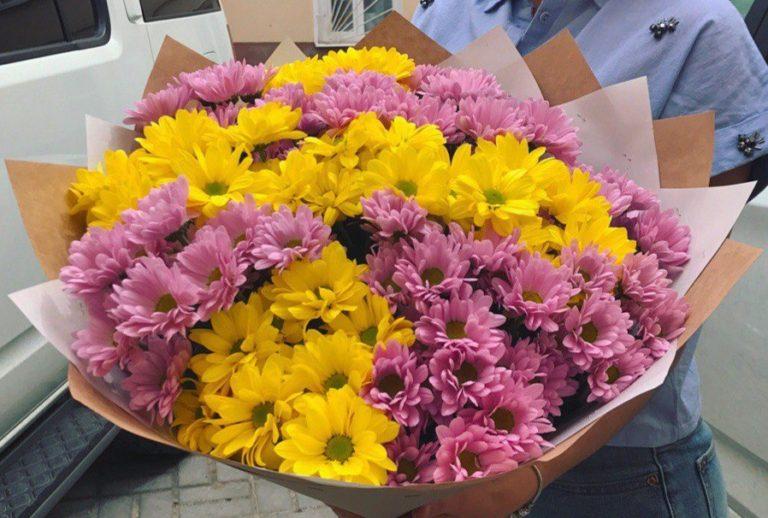 Букет из 15 кустовых хризантем желтого и розового цвета