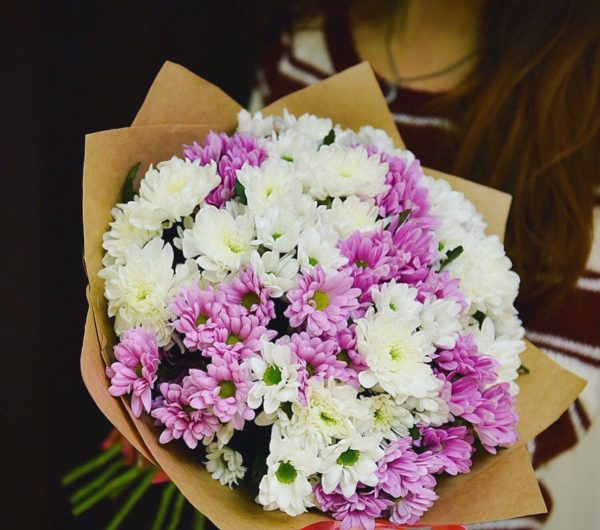 Букет из 15 кустовых хризантем бело-розового цвета