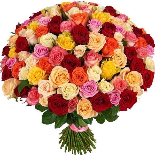 """Букет из 101 розы """"Микс цвета"""" всех естественных цветов"""