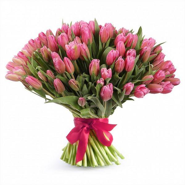 """Букет """"Улыбка Радости"""" из 101 тюльпана розового цвета"""