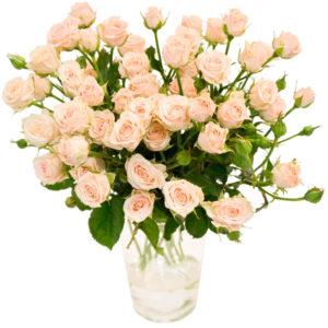 Кустовая роза россыпью розового цвета